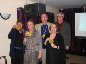 Winners of the Chocolate Quiz show off their medals