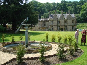 Peter Clarke and guest admire the gardens