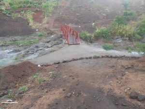 A point where the concrete slab meets earth