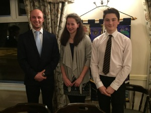 Jasmine Moore, Angus Buckland and their teacher Alan Cummings
